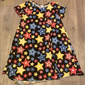 Lularoe L star print black Carly dress Americana